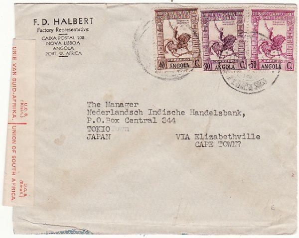 ANGOLA - JAPAN…WW2 via BELGIAN CONGO & TRANSIT CENSORED in SOUTH AFRICA….