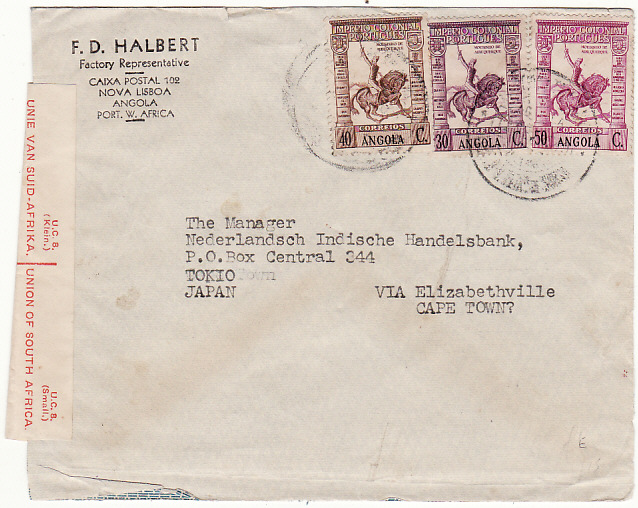 [15237]  ANGOLA - JAPAN…WW2 via BELGIAN CONGO & TRANSIT CENSORED in SOUTH AFRICA….  1941 (Sep 2)