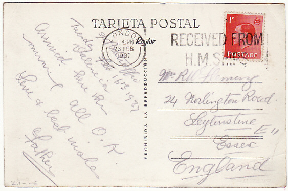 [15582]  SPAIN - GB...SPANISH CIVIL WAR-SS BALHAFFIE-POSTED ON BOARD MAIL..  1937 (Feb 16)