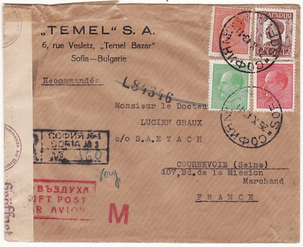 BULGARIA - FRANCE…REGISTERED AIRMAIL with TRANSIT CENSORSHIP…
