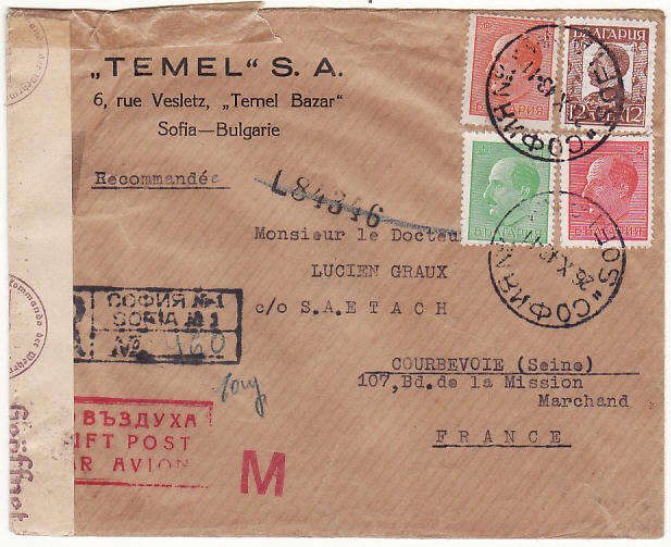 [18297]  BULGARIA - FRANCE…REGISTERED AIRMAIL with TRANSIT CENSORSHIP…  1943 (Oct 26)
