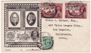 BURMA - USA…1940 CENTENARY CENSORED FIRST DAY ISSUE…