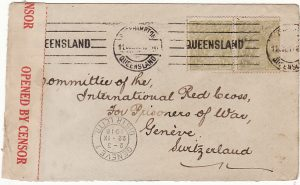 AUSTRALIA - SWITZERLAND…1918 RED CROSS POW MAIL..
