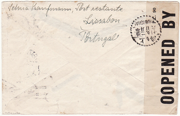 [15058]  PORTUGAL - CHINA…. WW2 TRANSIT CENSORED in BERMUDA…  1940 (Dec 31)