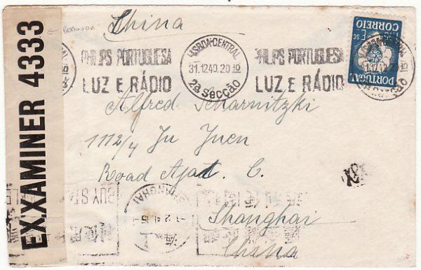 PORTUGAL - CHINA…. WW2 TRANSIT CENSORED in BERMUDA…