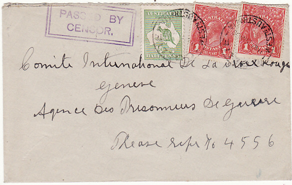 [15026]  AUSTRALIA - SWITZERLAND…WW1 RED CROSS…  1916 (Mar 25)