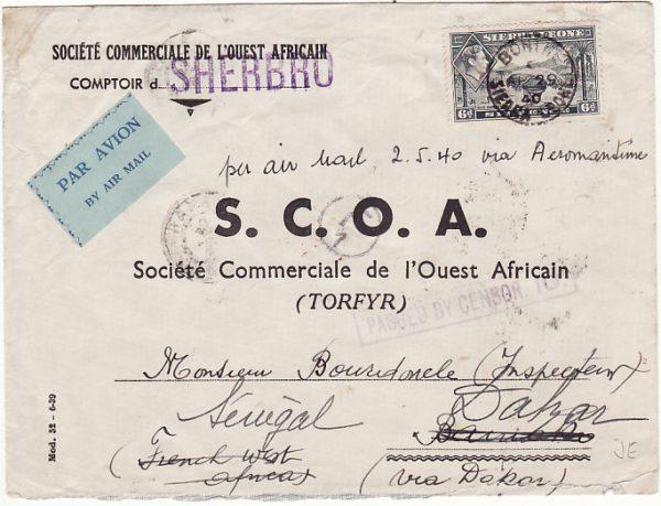 SIERRA LEONE - FRENCH SOUDAN - SENEGAL….WW2 FORWARDED CENSORED AIRMAIL..