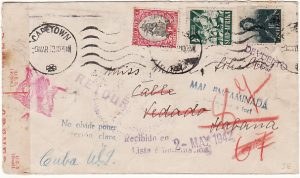 SOUTH AFRICA - CUBA…WW2 DOUBLE CENSORED & RETURNED TO SENDER..