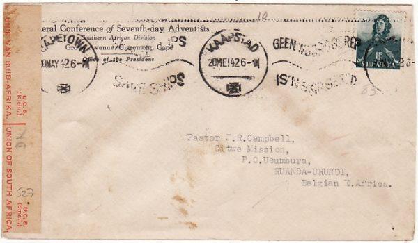 SOUTH AFRICA - RUANDA-URUNDI…WW2 CENSORED..