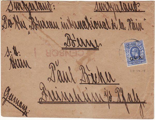 G.E.A. - SWITZERLAND - GERMANY…WW1 BRITISH OCCUPATION...