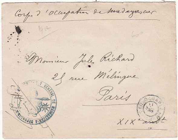 [15145]  MADAGASCAR - FRANCE...2nd FRENCH EXPEDITION 1895-1905..  1902 (Jul 11)