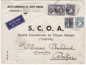 NIGERIA - SENEGAL… WW2 UNCENSORED AIRMAIL…