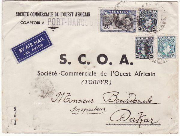 NIGERIA - SENEGAL… WW2 UNCENSORED AIRMAIL…