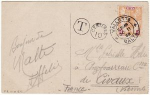 MALTA - FRANCE…1922 TAXED MAIL..