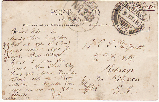 [15192]  ZANZIBAR - GEA…WW1 BRITISH FORCES XMAS GREETINGS CARD…  1918 (Oct 9)