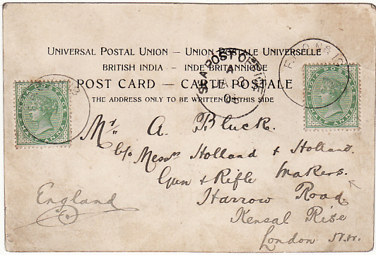 [15200]  INDIA - UK….NORTH WEST FRONTIER FPO 18….  1903 (Jan 3)