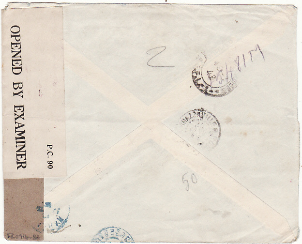 [18311]  FRENCH LEVANT - SENEGAL…WW2 CENSORED in NIGERIA & RECEIVED WITH MISSING STAMP…  1943 (Mar)