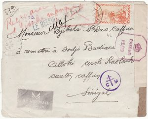 FRENCH LEVANT - SENEGAL…WW2 CENSORED in NIGERIA & RECEIVED WITH MISSING STAMP…