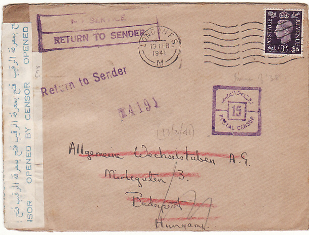 [18166]  GB - HUNGARY...WW2 via EGYPT & SERVICE SUSPENDED …  1941 (Feb 13)