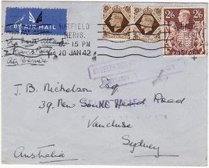GB - AUSTRALIA...WW2 TRANS PACIFIC AIRMAIL SERVICE SUSPENDED …
