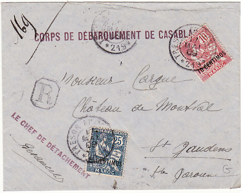[15305]  MOROCCO - FRANCE...FRENCH FORCES REGISTERED...   1909 (May 17)