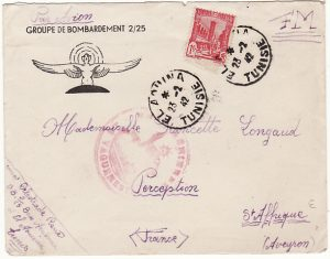TUNISIA - FRANCE…WW2 FRENCH AIR FORCE AIRMAIL…