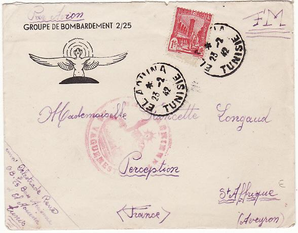 [15323]  TUNISIA - FRANCE…WW2 FRENCH AIR FORCE AIRMAIL…  1942 (Feb 17)