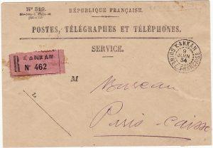 FRENCH GUINEE - FRANCE…. POSTES & TELEGRAGPH SERVICE REGISTERED…