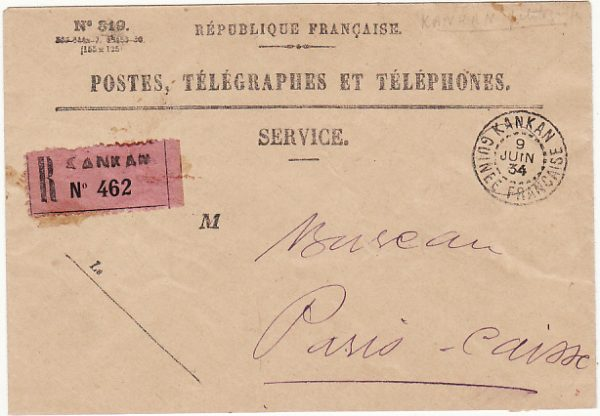 FRENCH GUINEE - FRANCE…. POSTES & TELEGRAGPH SERVICE REGISTERED…
