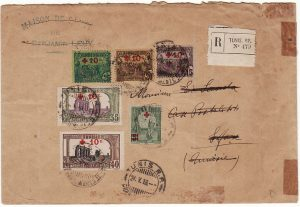TUNISIA…WW1 INTERNAL REGISTERED MAIL with RED CROSS ADHESIVES..
