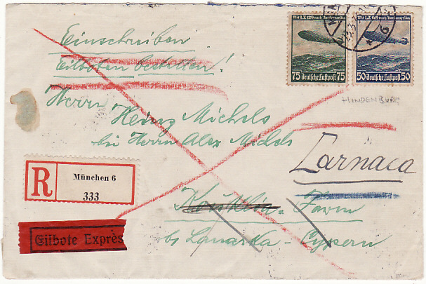 [15350]  GERMANY - CYPRUS...REGISTERED EXPRESS AIRMAIL…  1936 (Mar 23)