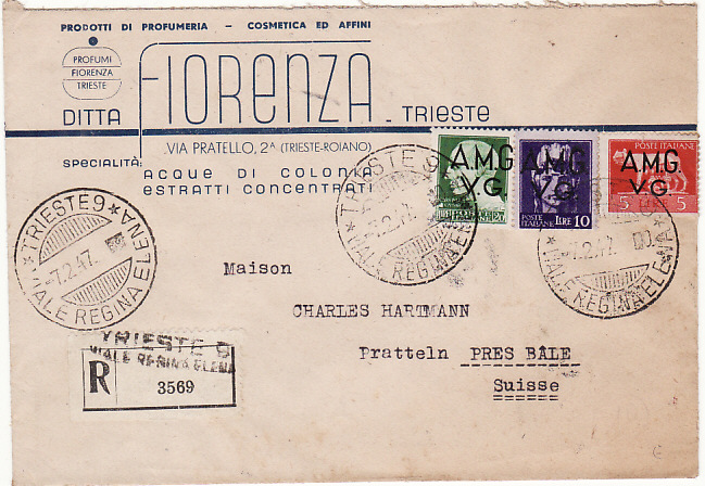 [15406]  TRIESTE - SWITZERLAND...ALLIED MILITARY GOVERNMENT   1947 (Feb 7)