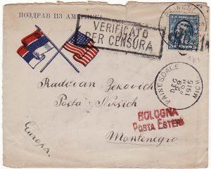 USA - MONTENEGRO…WW1 PATRIOTIC FLAG CENSORED ENVELOPE...