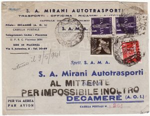 ITALY - ERITREA….1940 ITALIAN EAST AFRICA SERVICE SUSPENDED & RETURNED...