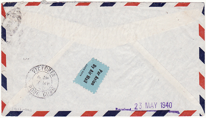 [15860]  USA-AUSTRALIA [TRANS-PACIFIC AIRMAIL/CENSORED in HONG KONG]  1940(Apr 29)
