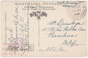 ITALY-USA..WW1 US FORCES in ITALY on YMCA PICTORIAL CARD…
