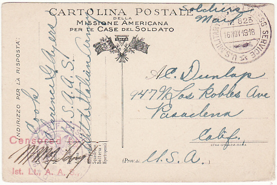 [15933]  ITALY-USA..WW1 US FORCES in ITALY on YMCA PICTORIAL CARD…  1918 (Nov 5)