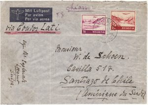SWITZERLAND-CHILE…WW2 AIRMAIL via LATI..