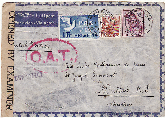 [15954]  SWITZERLAND - INDIA….WW2 CENSORED AIRMAIL with OAT…  1945 (May 17)