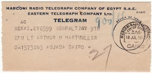 EGYPT..WW2 MARCONI RADIO TELEGRAM to US SOLDIER..