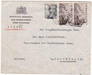 SPANISH MOROCCO - HOLLAND…CONSULAR MAIL…