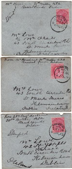 INDIA - IRELAND…1904 SOLDIERS MAIL from NORTH WEST FRONTIERL…