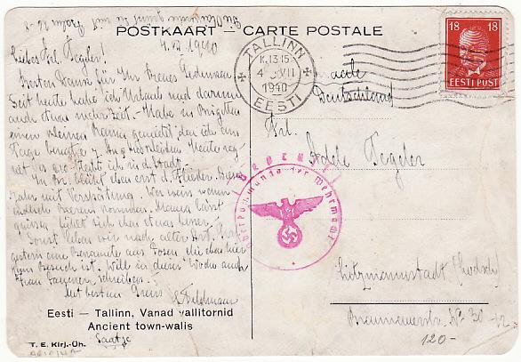 ESTONIA - GERMANY... WW2 CENSORED at KONIGSBERG …