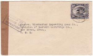 MALAYA - USA…WW2 CENSORED to WINCHESTER ARMS Co….