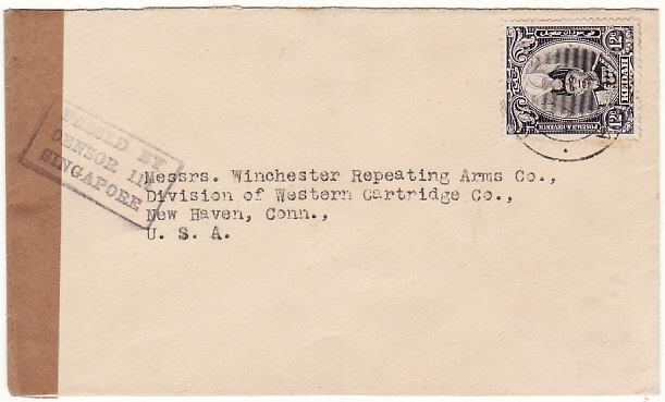 [11227]  MALAYA - USA…WW2 CENSORED to WINCHESTER ARMS Co….  1940 (Aug 19)