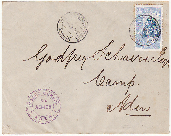 [13170]  FRENCH SOMALI COAST - ADEN….WW1 SCARCE ADEN CENSOR LABEL…  1916 (Nov 14)