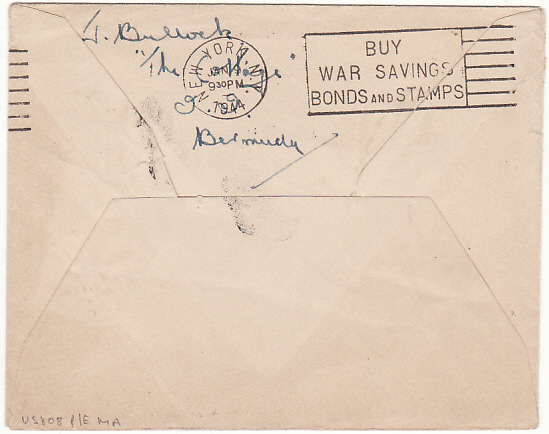 [13745]  BERMUDA-USA….WW2 PRINTED PAPER RATE with BERMUDA CENSOR No 45…  1943 (Nov 29)