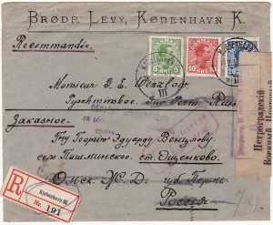 DENMARK - RUSSIA…WW1 RETURNED REGISTERED MAIL..