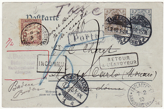 [14632]  GERMANY - MONACO….RETURNED & with POSTAGE DUE…  1910 (Feb 1)