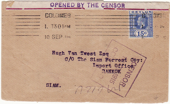 [14926]  CEYLON - THAILAND….WW1 CENSORED..  1915 (Sep 10)
